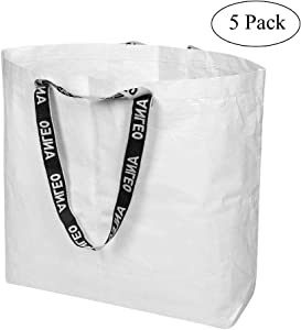 """X-large Size Reusable Grocery Shopping Bags, Durable Heavy Duty Self-stand Waterproof Foldable Shopping Tote for Bulk Items, Market Grocery Shopping etc. (5 Pack, 17.7""""L x 17.7""""H x 7""""D) (White)"""
