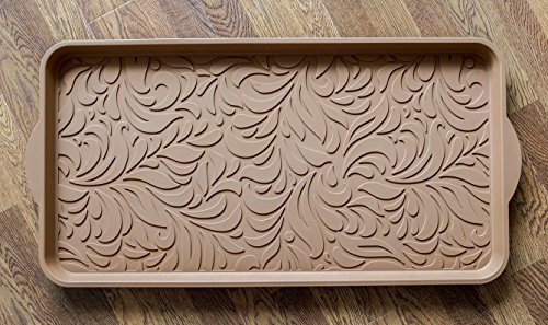 Small Serving Liner Tray (Optimal Home DECORATIVE MULTI PURPOSE TRAY LARGE 15X29 INCH ORGANIZER HOLDER SERVING FOR HOME ENTRYWAY TRUNK TABLE SHOE DRAWER OUTDOOR LITTER TOOL SNACK PET BOWL PLANT PAINT DRIP LINER FOOD (Brown))