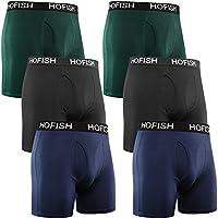 HOFISH Men's Seamless Comfort Soft Cotton Boxer Brief (Pack of 6)