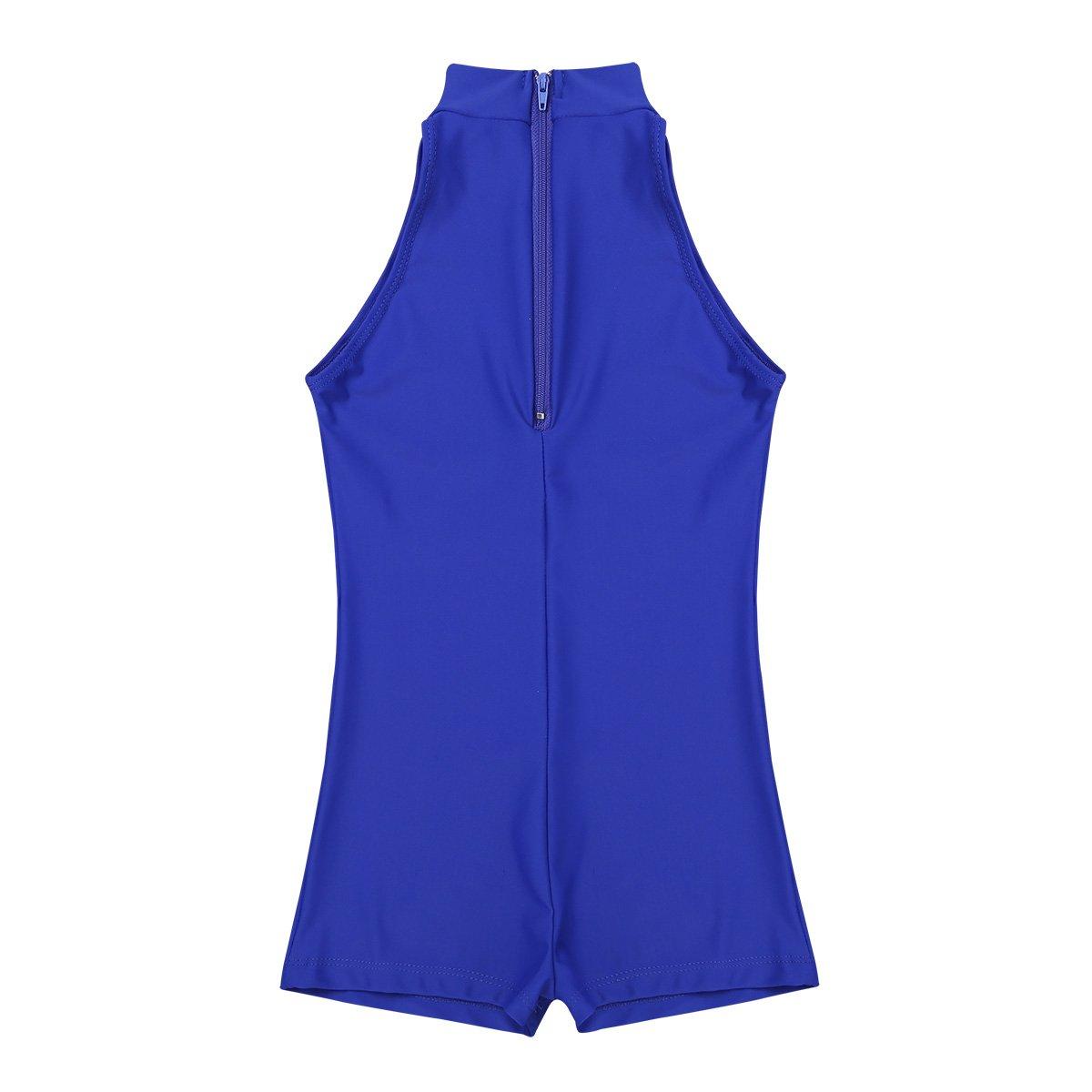 FEESHOW Girls Turtleneck Leotard Zipper Back Gymnastic Ballet Dance Unitard Bodysuit Biketard Athletic Sports Outfit