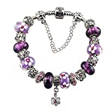 Charm Bracelet with Charm for Pandora Bracelet for Women and Girl Silver Plated Purple christmas gifts