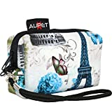 AUPET Eiffel Tower Design Digital Camera Case Bag Pouch Coin Purse with Strap For Sony Samsung Nikon Canon Kodak