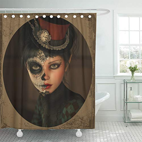 Semtomn Shower Curtain Death 3D Computer Graphics of Girl Sugar Skull Makeup Shower Curtains Sets with 12 Hooks 60 x 72 Inches Waterproof Polyester Fabric]()