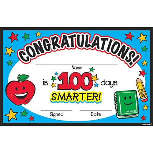 Day Certificate - Amscan 36 Count 100Th Day Of School Certificate Pack Party Supplies, Multicolor