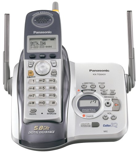 Panasonic KX-TG5431S 5.8 GHz DSS Cordless Phone with Answering System (Silver/White)