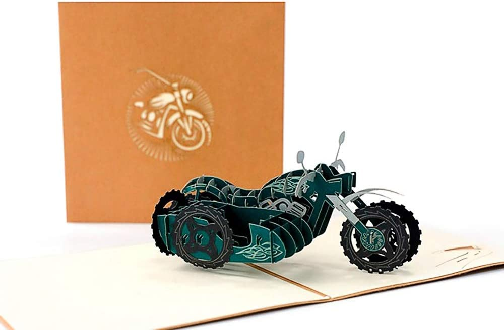 DEESOSPRO® [Tarjeta de Cumpleaños] [Tarjeta de Aniversario] [Tarjeta de Graduación] con Patrón Emergente 3D Creativo, Regalo para Cumpleaños, Graduación, Navidad, Día del Padre (Motocicleta)