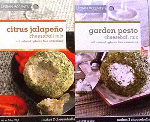 [Urban Accents All Natural Gluten Free Cheeseball Mix 2 Flavor Variety Bundle: (1) Citrus Jalapeno Cheeseball Mix, and (1) Garden Pesto Cheeseball Mix, .8 Oz. Ea.] (Jalapeno Cheeseball)