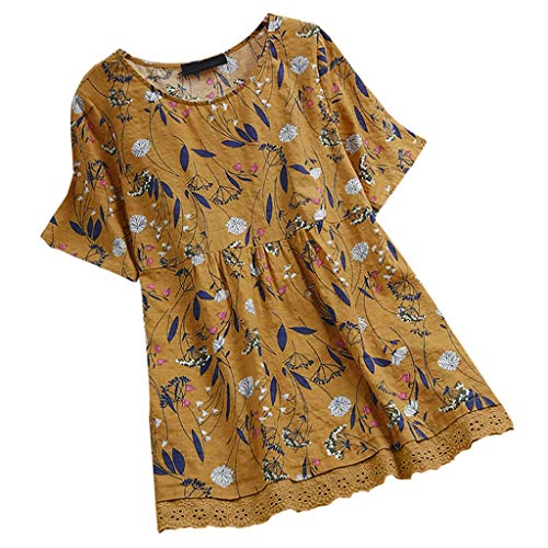 (Wadonerful Women Shirts,Cozy Print T Shirt Short Sleeve Fold Lace Panel Pullover Tops Yellow)