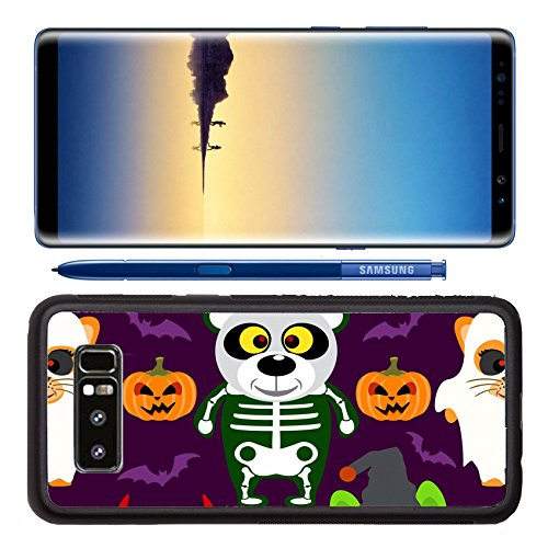 Luxlady Premium Samsung Galaxy Note8 Aluminum Backplate Bumper Snap Case IMAGE ID: 31870698 Halloween background seamless with animal in Halloween costume (Halloween Easy Desserts)
