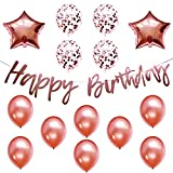 Birthday Party Decorations Rose Gold Decor Strung Banner (HAPPY BIRTHDAY) & 14PC Helium Balloons w/Ribbon Kit Set Supplies (Any Birthday)