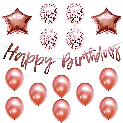 Rose Gold Party Decorations w/Pre-Strung Happy Birthday Banner, 8 Latex, 4 Confetti, 2 Star Mylar Balloons, Decorations Supplies Bundle Set for Girls Women, 13th 16th 21st 25th 30th 40th -