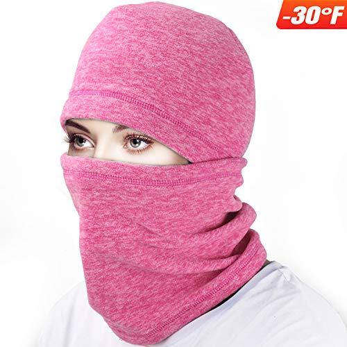 mysuntown Ski Face Mask Balaclava Fleece Hood for Men Women,Winter Neck Warmer Windproof Cap for Snowboarding Running Cycling (Pink)