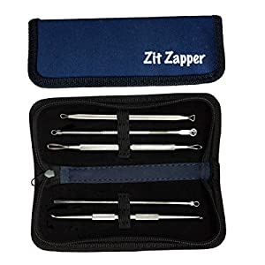 Zit Zapper Blackhead Remover Kit For All Acne Whitehead Pimple and Blemish Problems With 5 Essential Comedone Stainless Steel Tools In A Convenient Navy Blue Zippered Case