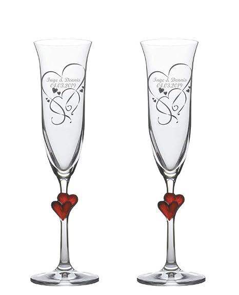 Sekt Champagner Gläser Sektkelche Lamour Graviert 2er Set Personalisiert E Gravur Ein Persönliches Geschenk Zur Hochzeit Jahrestag Valentinstag