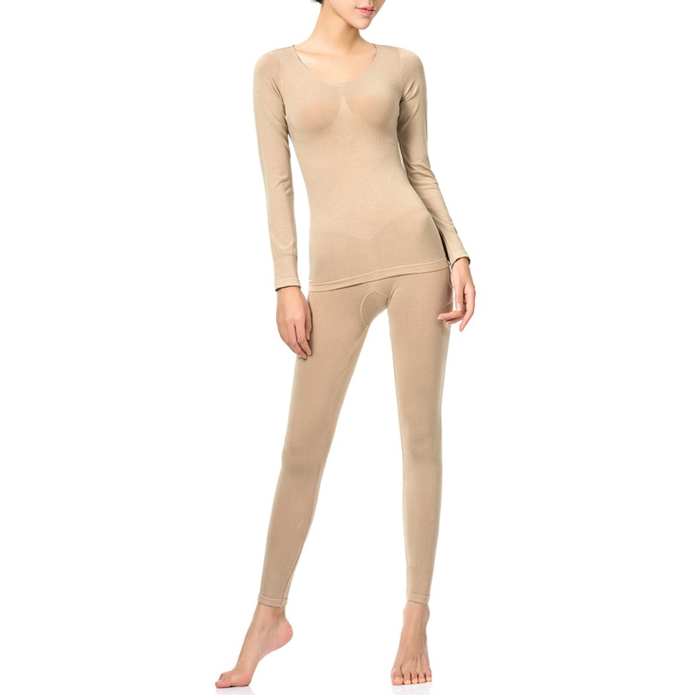 Fimage Women's Simple Soft Breathable Seamless Top & Bottom Thermal Underwear Set Skin M