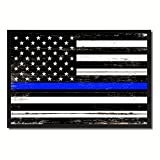 SpotColorArt Thin Blue Line Honoring Our Men and Women of Law Enforcement American Police USA Flag Vintage Canvas Print Picture Frame Home Decor Man Cave Wall Art Collection Gift Ideas