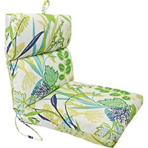 Aquamarine Seaweed Pattern Universal Chair Cushion with French Edge