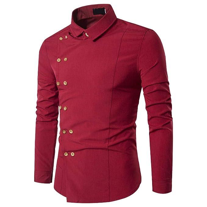 Camisas Vestir Hombre Manga Larga Slim Fit Camisa Casual Camiseta Moda  Casuales Camisetas Caballero Camisa Botón Abajo Blusa Modernas Shirt  Elegantes ... 5576fe0ec81ce