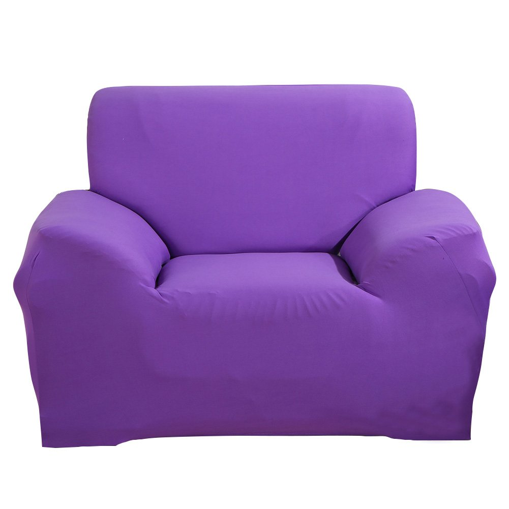 MIFXIN Stretch Arm Chair Cover Sofa Covers Slipcover Sofa 1-Piece 1 2 3 4 Seater Furniture Protector Polyester Spandex Fabric Armchair Slipcover a Pillow Cover Children Pets Bright Purple