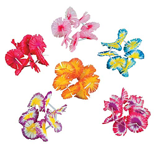 happy deals 24 Pc Hawaiian Flower Lei Bracelets -Wholesale Luau Party Supplies (Lei Tone Flower Two)