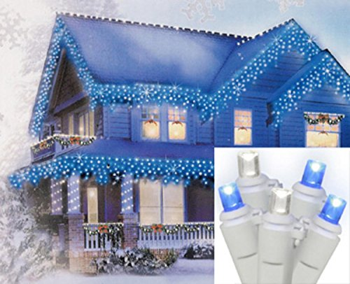 70 Led Winter/Pure White Icicle Light Set White Wire