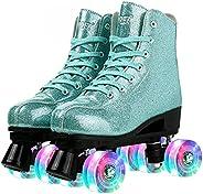 Roller Skates for Women Men Unisex Girls Shiny Roller Skate Shoes PU Leather High-top Skates Double-Row Roller