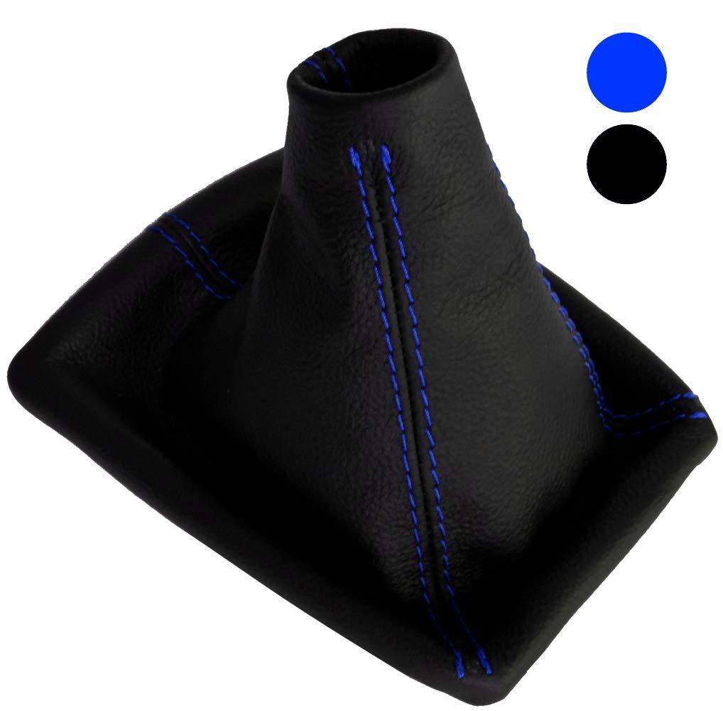 Funda para palanca de cambios 100/% piel genuina con costuras de colores variables AERZETIX negro con costuras rojo
