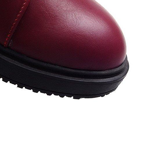Allhqfashion Solide Pu Chaussures À Talons Bas À Lacets Bout Rond Fermé Rouge