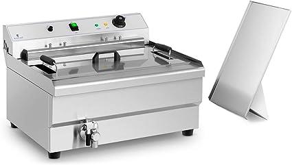 Royal Catering Freidora De Pasteles Y Churros RCBG-30STHB (30 Litros, 9.000 Watt, 3. Temperatura Máx. 200 °C, Con Grifo De Vaciado Y Zona Fría)