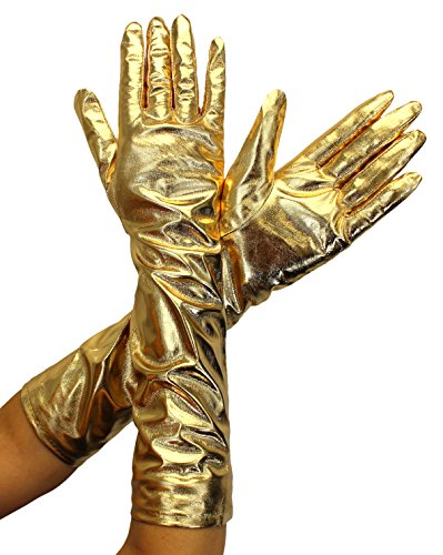 Enimay Women's Long Colored Satin Gloves Wedding Bridal Shower Formal Opera Gold (Long Gold Metallic Gloves)