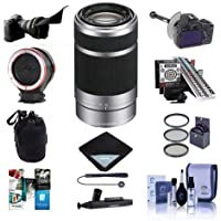 Sony 55-210mm f/4.5-6.3 OSS E-Mount NEX Camera Lens, Silver/Black - Bundle with Flex Lens Shade, Follow Focus and Rack Focus, MkII Focus Calibration System, Peak Lens Changing Kit Adapter and More