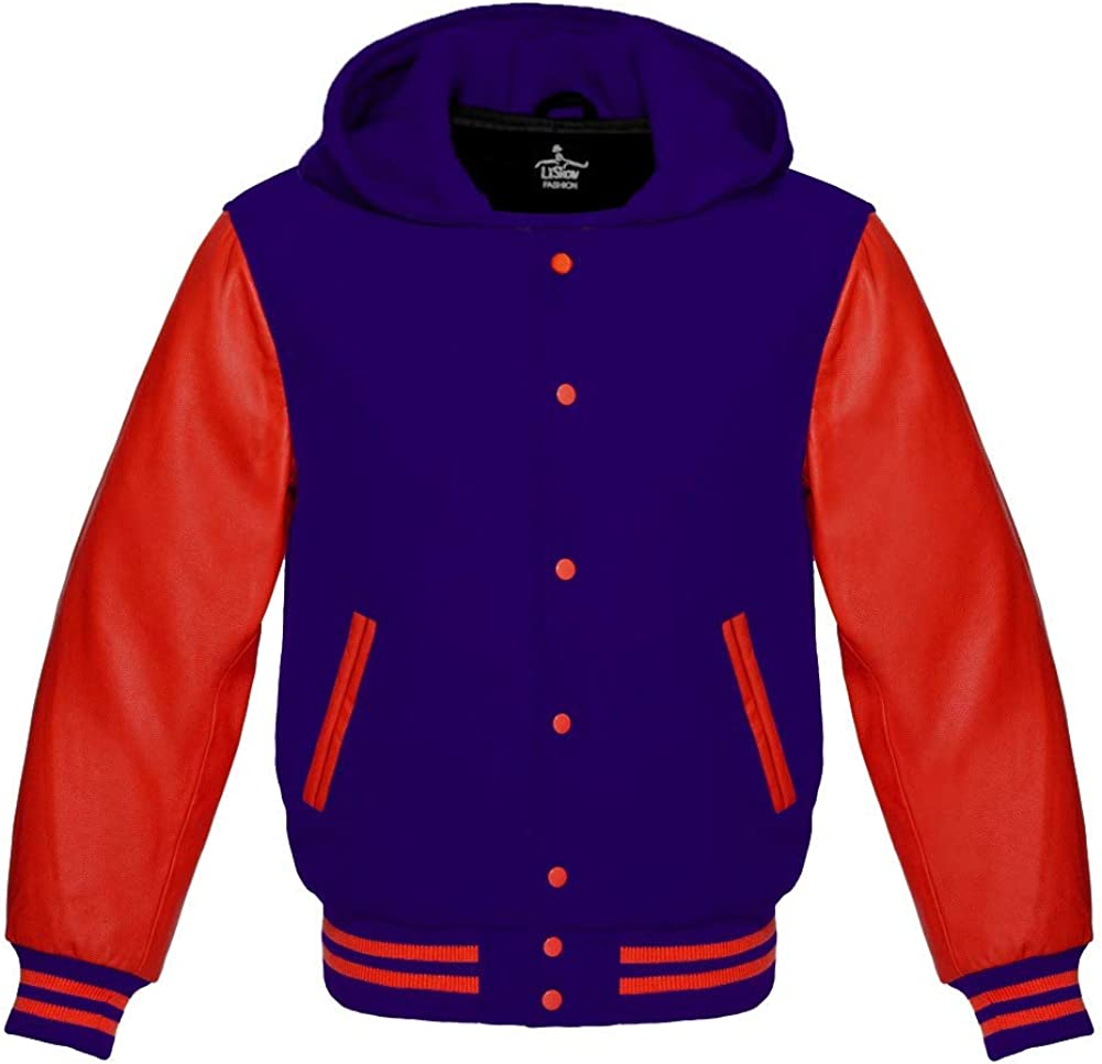 Varsity Hoodie Jacket for Baseball Letterman Bomber School of Navy Blue Wool and Genuine Red Leather Sleeves