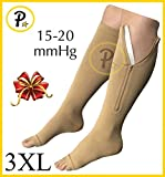 NEW (BIG & TALL 3XL) Open Toe Knee Length Zipper Up Compression Hosiery Calf Leg Support Stocking Stocks (Beige)