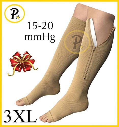 NEW (BIG & TALL 3XL) Open Toe Knee Length Zipper Up Compression Hosiery Calf Leg Support Stocking Stocks (Beige) by Presadee