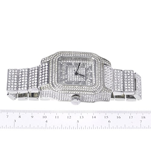 Mens Hip Hop Luxury Iced Out Techno Pave Watch Silver Tone Heavy Bezel Case Band Simulated Diamond WM 7967 S by Metaltree98 (Image #2)