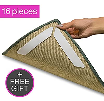 Anti Curling Rug Gripper| Best 16 Piece Anti Curling Rug Grippers| Anti-Curl, Slip and Skid Carpet Grippers| Keeps Your Rug in Place| Rug Grippers for Tile Floors| Compatible With Any Hardwood Floors