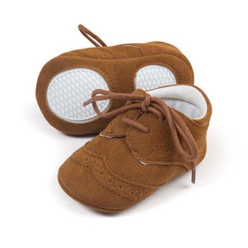 Zapatos de bebé 0-26 meses Zapatos perfecta para los primeros pasos Suela suave Café oscuro