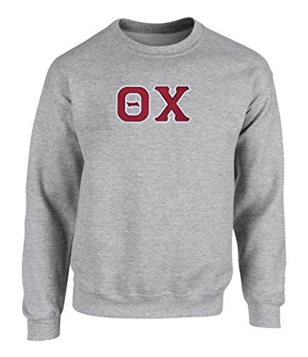(Theta Chi Twill Letter Crewneck Sweatshirt by Fashion Greek Spt Grey)