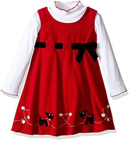 Blueberi Boulevard Little Girls' 2pc Cord Jumper Set Dog Emb, Red, 5 - Corduroy Jumper Dress Set