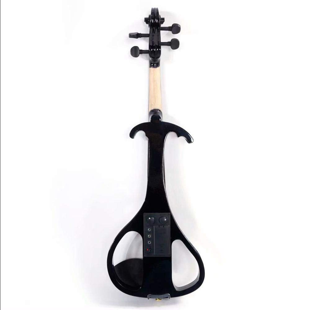 LJ1 4/4'' Basswood Electric Violin Case Rosin Head Set Bow Battery Connecting Line Black by Aromzen (Image #3)
