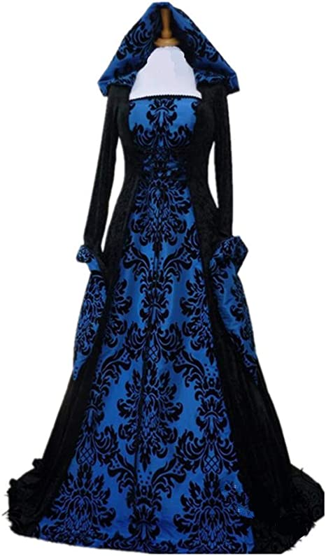 LY-VV Plus Size Womens Renaissance Over Long Dress Masquerade Gown  Steampunk Vampire Halloween Hooded Costume