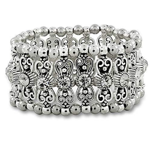 ZIVOM Stylish Filigree Tribal Afghani Oxidised German Silver Stretchable Free Size Bangle Bracelet Girls Women