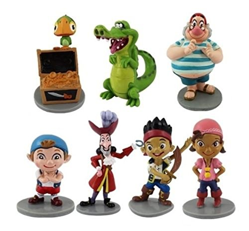 Jake Pirates Playset 7 Figure Cake Topper Toy Doll Set ()