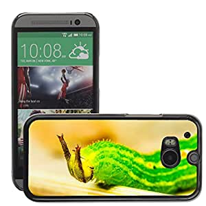 Hot Style Cell Phone PC Hard Case Cover // M00116969 Caterpillar Green Head Horns Detail // HTC One M8