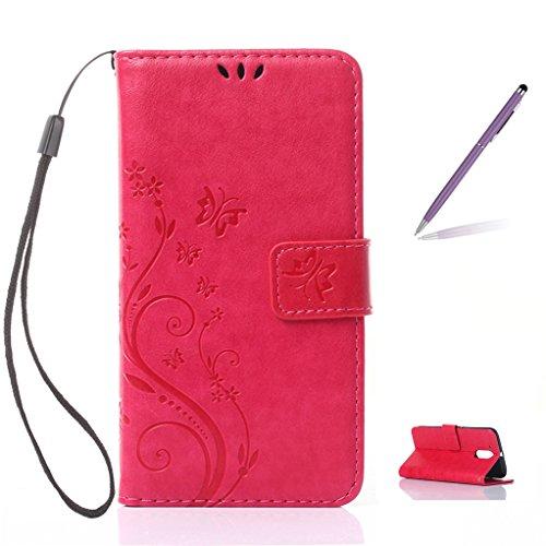 Trumpshop Smartphone Carcasa Funda protección para Motorola Moto G5 Plus + Azul + PU Cuero Caja Protector Billetera con la Ranura la Tarjeta [No compatible con Moto G5] Rojo