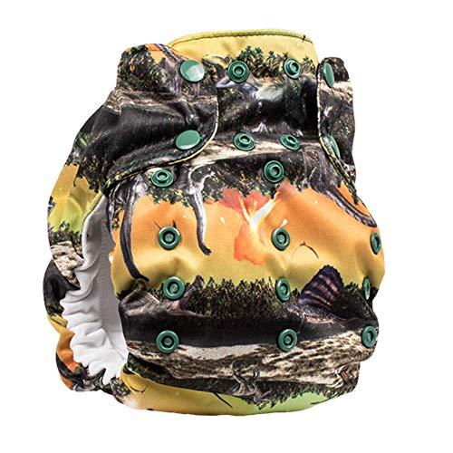 No Prep Organic Cloth Diaper - Smart Bottoms Dream Diaper 2.0 - Washable, Reusable - Natural Fiber Interior (Jurassic)