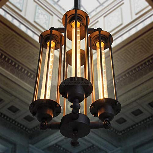 LUOLAX Industrial Steampunk Style Chandelier Vintage Pendant Light Loft Ceiling Fixture for Country Hotel Restaurant Bar Creative Ceiling Lamp Decor (4 Heads)