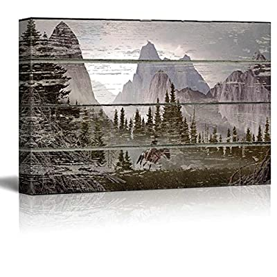 Marvelous Creative Design, With Expert Quality, Rustic Mountain Scenery on a Wooden Background