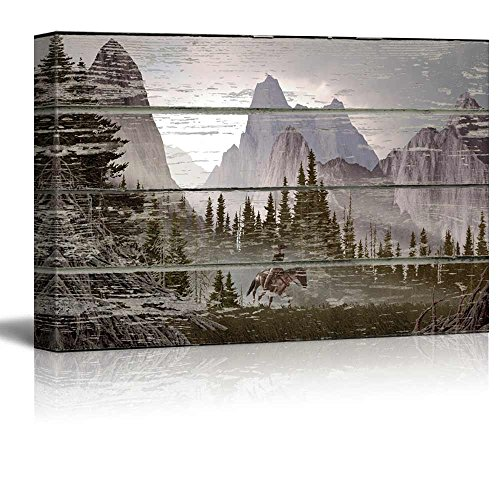 Cabin Wall Art - wall26 - Rustic Mountain Scenery on a Wooden Background - Canvas Art Home Decor - 16x24 inches