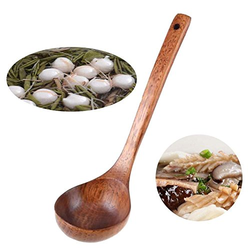 BleuMoo 1Pcs Natural Wood Wooden Spoon Soup Rice Dinner Tool Cooking Spoons Kitchen Utensil Scoop Ladle Tableware Catering Spoon
